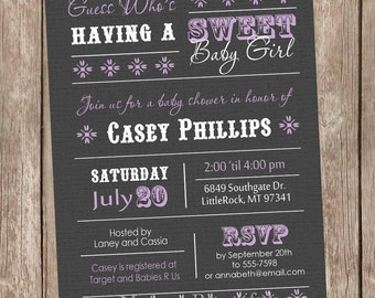 Girl Baby Shower Invitation, baby shower invitation, purple and gray, lavander and gray, grey, typography, printable invitation