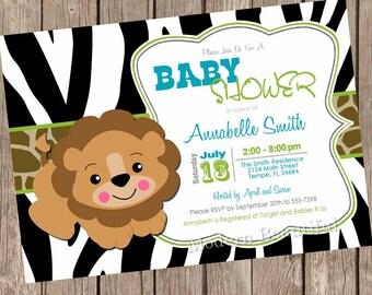 Lion baby shower invitation, zebra baby shower invitation, jungle, safari, lion, typography, printable printable invitation