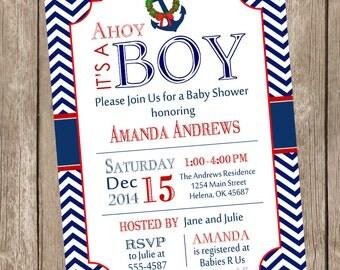 Christmas Chevron Ahoy it's a boy baby shower invitation, christmas baby shower, red, navy, anchor, nautical, printable invitation nautical1