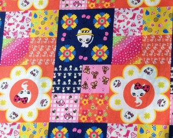 1M Japanese cotton fabric Cat printed patchwork design