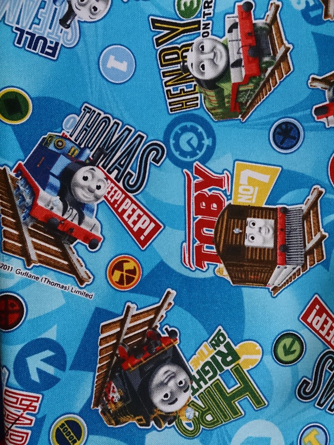 Thomas the train fabric blue colour one yard for Train fabric by the yard