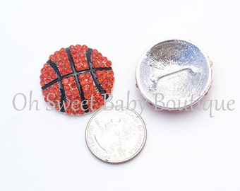 30mm Basketball Rhinestone Slider QTY 2