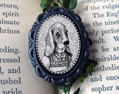 basset hound in black - victorian style anthropomorphic animal brooch - small