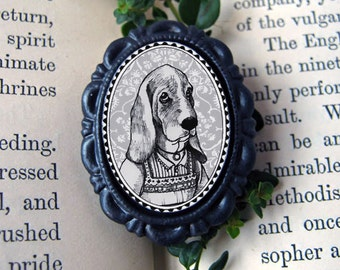 basset hound in black - victorian style anthropomorphic animal brooch - small