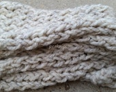 Scarf - Handknit Twisted and Garter Stitch ~ Wool and Acrylic Blend ~ White Fisherman's Wool Scarf - Thick, Warm, Fall and Winter Wear