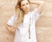 Vicenza ITALIAN heather grey JERSEY button up