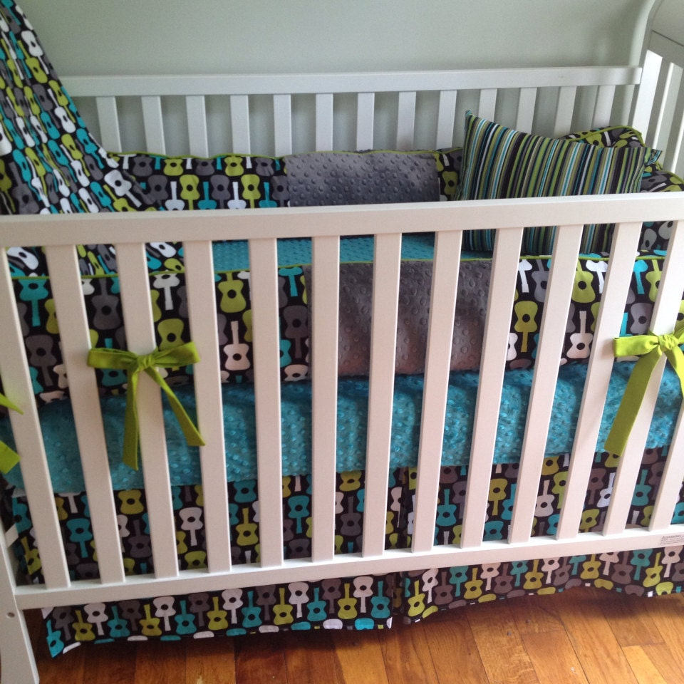 Groovy Guitar 4pc Boy Crib Bedding Set Made To By Maxandgrace