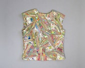 Vintage 1960s 1970s Marble Neon Shell. 60s 70s Psychedelic Tank Top Shell
