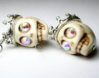 Day of the Dead Dia de los Muertos Original King Crown Bling Sugar Skull Dangle Earrings Silver-Tone Jewelry