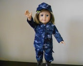 US Navy digital camouflage military uniform with boots for American Girl doll and similar hand Made in USA