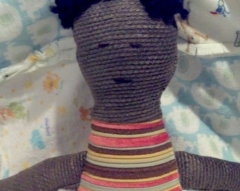 Boy Cloth Doll with Black Yarn Hair