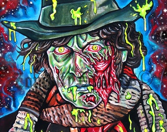 """8x11"""" PRINT of the 4th Doctor, Tom Baker Zombie Portrait"""