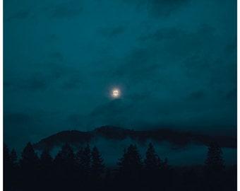 Moon photo, dark night sky, landscape photography, fine art print