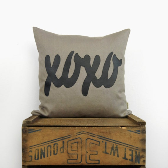 XOXO word decorative pillow case in black & by ClassicByNature