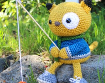 Amigurumi Crochet Pattern - Spencer the Fishing Kitty