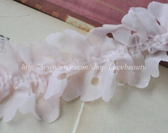Pale Pink Chiffon Lace Trim Hollowed Out Fold Lace1.77 Inches Wide 2 Yards
