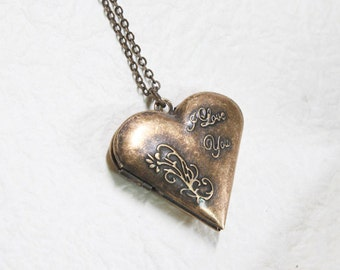Antique style I LOVE YOU Heart Locket - S2344-2