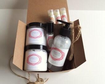 Bath and Body Gift Set of 3 Lip Balms, 4oz Lotion, 4oz Body Butter,10ml Perfume Oil, 4oz Bubble Bath - Your choice of Flavors
