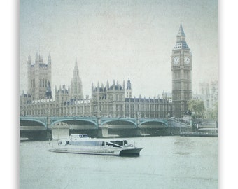 London Photography, Big Ben photos, British home decor, British Wall Art, aqua decor, British landmarks, River Thames - Fine Art Photograph