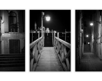Venice Noir Set - Black and White Photography, Venice Photography at Night, Film Noir, Venice Decor - Set of 3 Fine Art Photographs