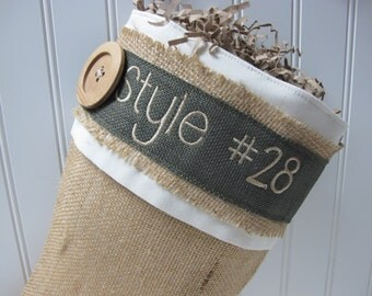 Burlap Christmas Stocking with green accents and personalization - Style #28
