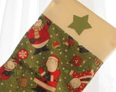 Large Christmas Stocking - Santa on green with cream cuff