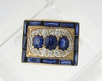 VINTAGE Sapphire & Diamond Ring in 14kt Yellow Gold, circa 1930