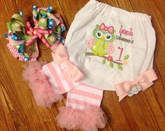 Cake Smash Set - Cake Smash Bloomer Set - Bloomers, Leg Warmers and Bow - Owl Bloomers - Photo Prop - Birthday Photo Prop - Owl Birthday
