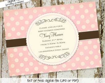 baby girl shower invitation birth announcement polka dots baby blessing sprinkle couples baptism coed (item 1333) shabby chic invitation
