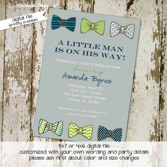 bow tie baby shower invitation little gentleman baby boy shower
