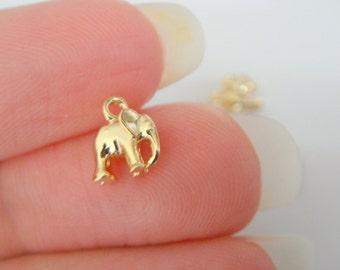 Gold Tarnish Resistant mini elephant bead disk Connectors, Earring Findings, pendants, 2 pc, J513804