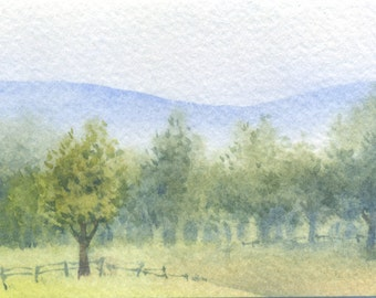 Original Painting ACEO - Ranch in the valley - watercolor