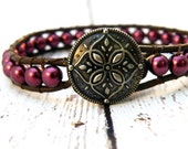 Boho Sangria Burgundy Pearls on Brown Leather Wrap Bracelet/ Flower Mandala/ Graduation/ Urban Modern Boho Chic