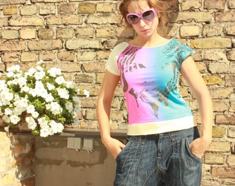 Light Creamy Asymmetric Vintage Dope T Shirt with one open sleeve - Size can fit for S and M