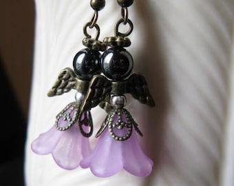 Angel Earrings Perfect African American Black Hematite Face 5-Petal Flower Pink Dress Antique Bronze Metal Wings Halo - Hanging