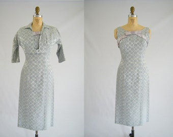 Vintage 1950s Cocktail Dress with Matching Cropped Jacket / Icy Blue / Formal Dress / Small XS