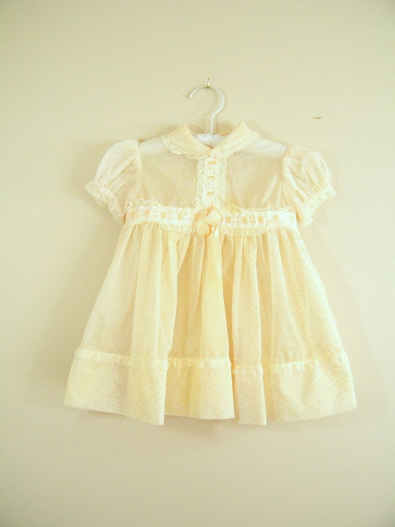 Vintage 1950s Baby Dress Dotted Swiss Sheer Cream