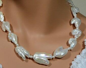 Big Pearl Necklace Baroque Pearl Necklace, Huge Pearl Necklace, Statement Pearl Necklace, Biwa Pearl Necklace Gemstone Necklace