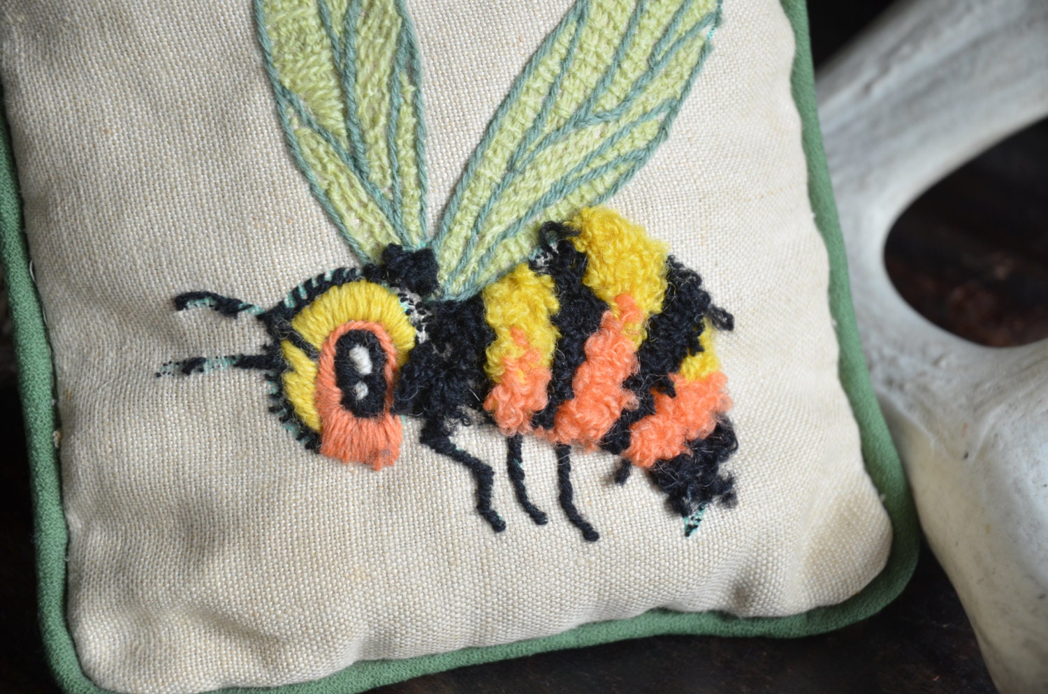 Bumble bee pillow vintage honey bee decor bumblebee decoration for Bumble bee mural