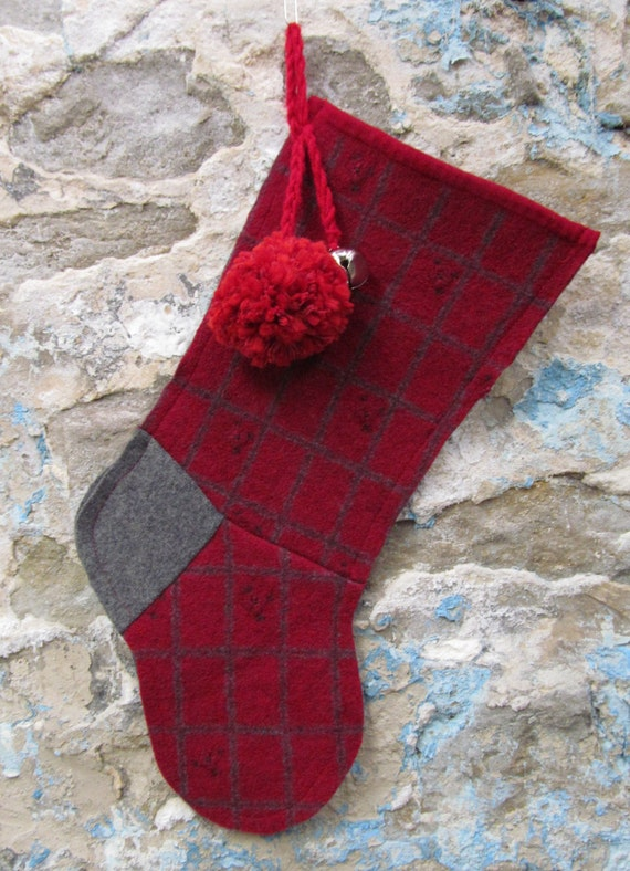 Red and Gray Plaid with Embroidered Flowers Upcycled Felted Wool Christmas Stocking