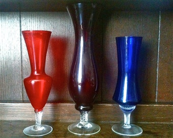 Vintage English Red and Blue Coloured Glass Vases circa 1960-70's / English Shop