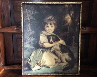 Vintage English wood framed print girl with dog wall hanging picture frame circa 1950's / English Shop