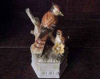 Vintage Ceramic Hooded Bird with Chick Pedestal Woodpecker circa 1960-70's / English Shop