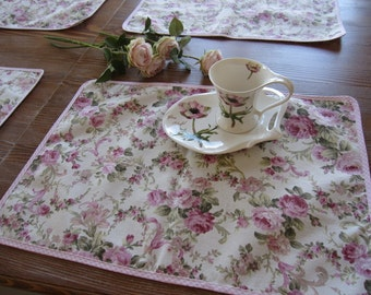 Placemat pink rose floral Duck Linen -shabby chic home decor -country style table decor, tablecloth decor, 4 pcs washable placemat