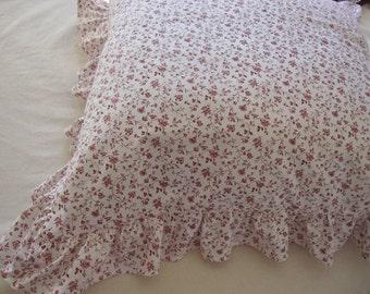 ruffled euro pillow SHAMs Burgundy white small floral cotton Linen 20x20 26x26 20x26 20x36 12x42- Queen king shabby chic bedding pillow