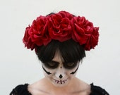 Red Rose Flower Crown, Day of the Dead Headpiece, Red Rose Crown, Dia de los Muertos, Fiesta, Rose Crown, Red Rose Crown, Roses, Frida Kahlo