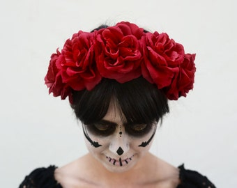 Red Rose Flower Crown, Red Rose Crown, Frida, Mexican Flower Crown, Day of the Dead, Dia de los Muertos Headpiece, Fiesta, Rose Crown, Kahlo