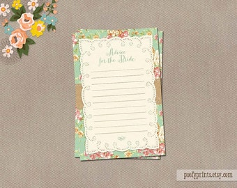 Shabby Chic Advice for Bride Cards - INSTANT DOWNLOAD - Charlotte Collection