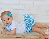 Turquoise Chevron Ruffle Diaper Cover Baby Bloomer Ruffle Panty Skirt for Baby Toddler Newborn