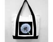 Classic Black  Handle Tote Bag, Dandelion Wish, New Canvas Styling/Original Photography/Loves Paris Studio/ 5 Styles,  FREE SHIPPING USA